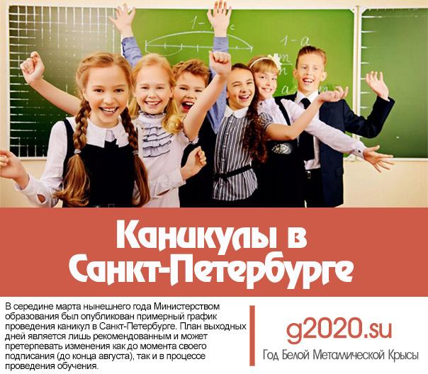 Каникулы 2019-2020 учебный год в Санкт-Петербурге