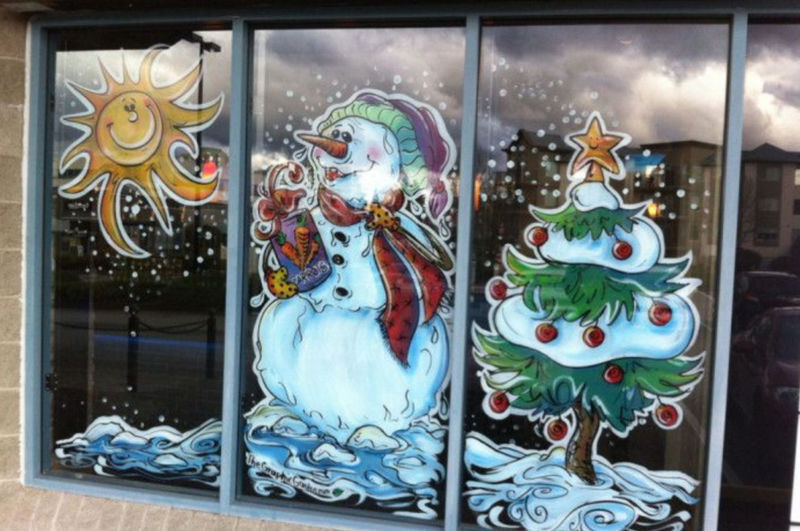 новогодние картинки красками на окна